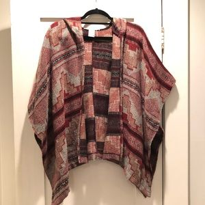 American Rag Mayan Pattern Hooded Poncho